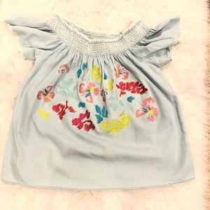 GRAND & GREENE Embroidered Floral top Size M